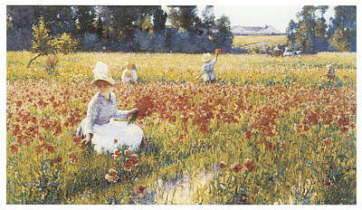 Poppies Field Painting - In Flanders Fiels Where Soldiers Sleep And Poppies Grow by Robert Vonnoh
