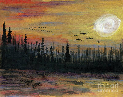 Canadian Geese Painting - In For The Night by R Kyllo