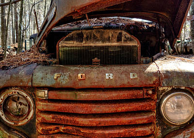 Old Photograph - In Front Of An Old Rusty Ford Truck by Greg Mimbs