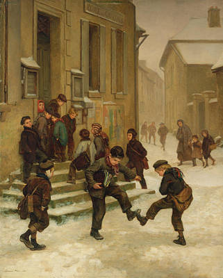 In Front Of The School Print by Charles Edouard Frere