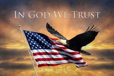 Old Glory Digital Art - In God We Trust by Lori Deiter
