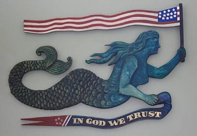 Atlantis Painting - In God We Trust Mermaid by James Neill