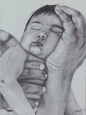 Hands Of Love Drawing - In Hands Of Daddy  by Mike Sangh