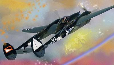 Digital Art - In Heaven Where P 38s Still Fly by J Griff Griffin