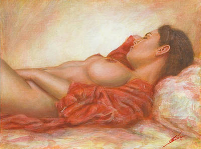 Breast Painting - In Her Own World by John Silver