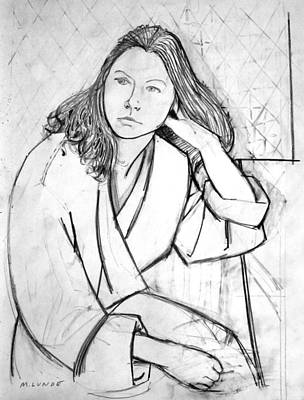 Drawing - In Her Robe by Mark Lunde