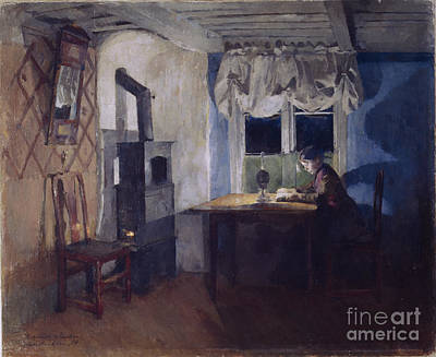 In Lamplight Art Print by Harriet Backer