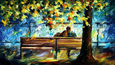 In Love - Palette Knife Landscape Oil Painting On Canvas By Leonid Afremov Original by Leonid Afremov