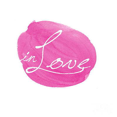 Typographic Digital Art - in Love pink by Marion De Lauzun