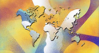 Playful Digital Art - In Love With Dreams World Map by Hakon Soreide