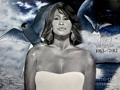 Painting - In Memory Of...whitney Houston by Chelle Brantley