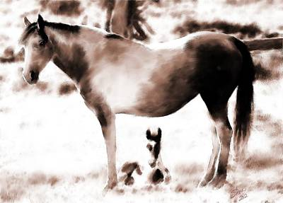 Pinto Painting - In Mom's Shadow by Shere Crossman
