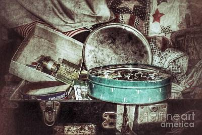 Nikki Vig Royalty-Free and Rights-Managed Images - In My Great Grandmothers Sewing Chest by Nikki Vig