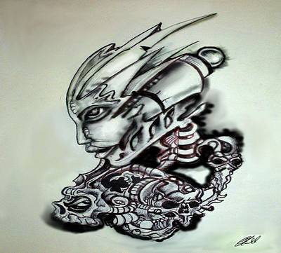 Steampunk Drawings - In my head by Chris Gill