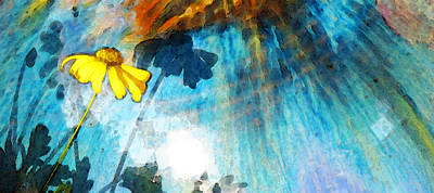 Painting - In My Shadow - Yellow Daisy Art Painting by Sharon Cummings