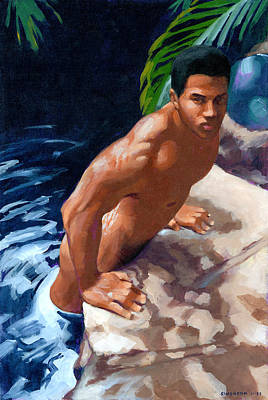 Naked Man Painting - In Or Out by Douglas Simonson