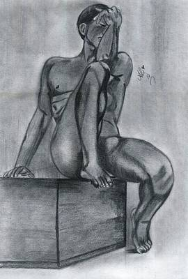 Male Nude Drawing Drawing - In Past by Bobby Dar