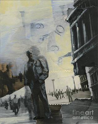 Wall Art - Mixed Media - In Piccalo Piazza San Marco Venice 1945 by Ellen Moore Osborne