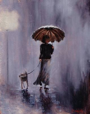 Darkness Painting - In Rain Or Shine by Laura Lee Zanghetti