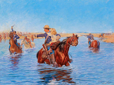 Fine Art In America Painting - In Safe Hands by Charles Schreyvogel