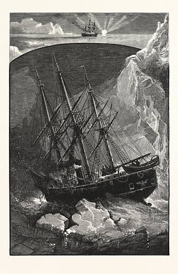 In Search Of The North Pole The Exploring Steam Yacht Print by American School