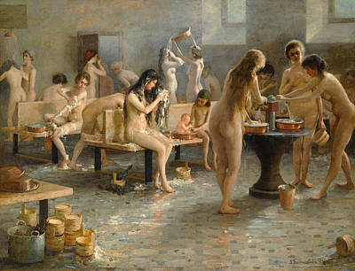 In The Bath House Print by Vladimir Alexandrovich Plotnikov