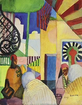 Moroccan Drawing - In The Bazaar, 1914 by August Macke