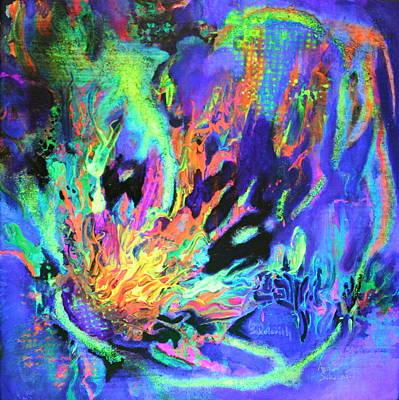 Free Form Digital Art - In The Beginning Black Light by Ann Sokolovich
