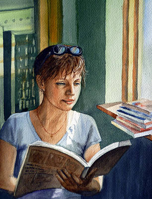 Watercolor Portraits Painting - In The Book Store by Irina Sztukowski