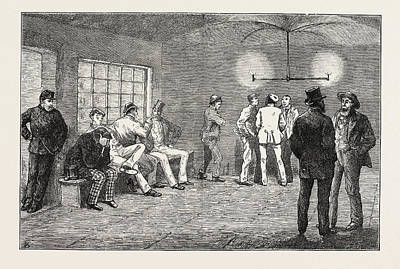 Cellar Drawing - In The Cellars At Newgate Prisoners Waiting For The Court by English School