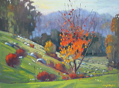 Berkshire Hills Painting - In The Cow Pasture by Len Stomski