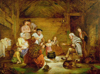 Interior Scene Painting - In The Crofters Home, 1868 by Alexander Leggett