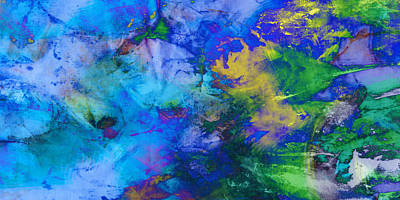 In The Deep Abstract Art Art Print by Ann Powell