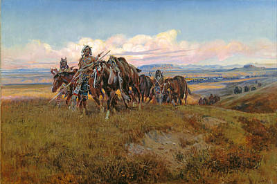 Famous Horse Art Painting - In The Enemys Country by Charles Marion Russell