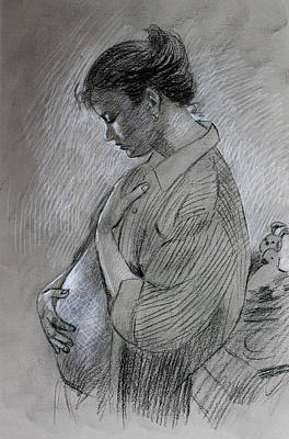Pregnant Woman Drawing - In The Family Way by Viola El