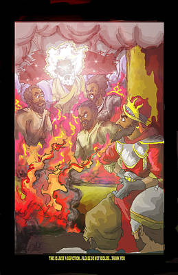In The Fire Shadrach Meshach And Abednego Print by Ronnell Williams