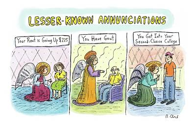 Angels Drawing - In The First Panel by Roz Chast