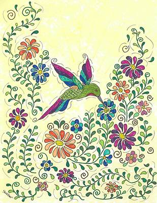 In The Garden - Hummer Print by Susie WEBER