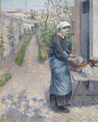 In The Garden At Pontoise A Young Woman Art Print by Camille Pissarro