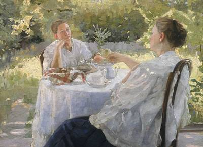 Tea Time Painting - In The Garden by Lukjan Vasilievich Popov