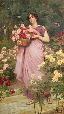 Art In The Garden Painting - In The Garden Of Roses by Richard Willes Maddox
