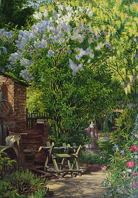 Pathway Painting - In The Garden  by William John Montaigne