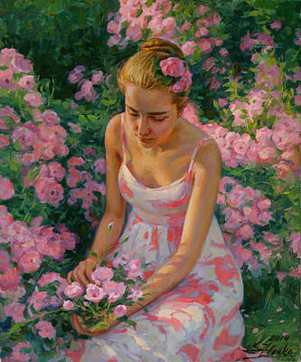 Painting - In The Garden by Serguei Zlenko