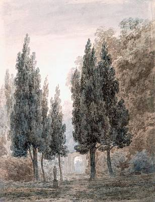 Villa Drawing - In The Gardens Of The Villa Pamfili by John Robert Cozens