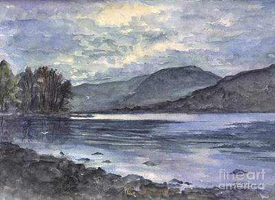 Painting - Derwent Water England In The Glowing Moonlight by Carol Wisniewski