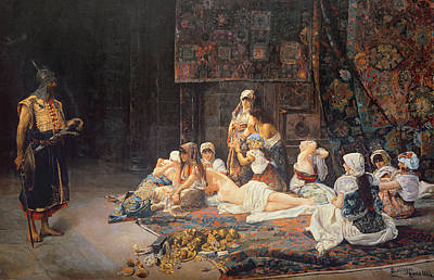 Persian Carpet Painting - In The Harem by Jose Gallegos Arnosa