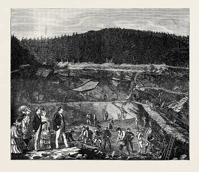 In The Harz Mountains Slate Working Art Print by English School