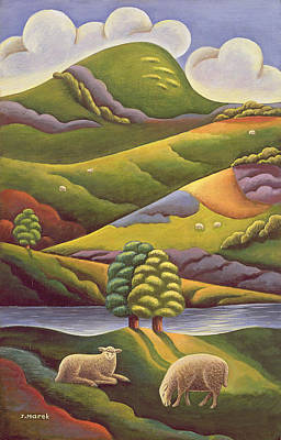 Bank Clouds Hills Painting - In The Highlands by Jerzy Marek