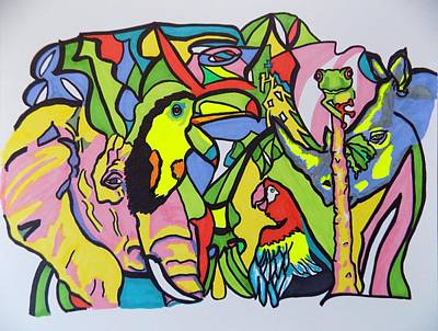Free Form Mixed Media - In The Jungle by Mary Sperling