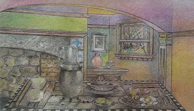 Drawing - In The Kitchen by NJ Brockman